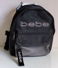 NEW! BEBE MELANIE BLACK MINI TRAVEL BACKPACK BAG PURSE $79 SALE
