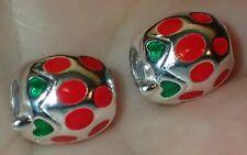 2 Beads 925 Silver Enamel Beads ADD TO EUROPEAN STYLE & PANDORA BRACELETS 2364