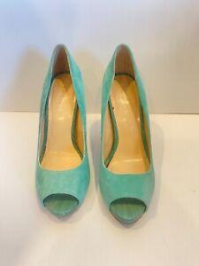 "Basque heels size 37 ""Irene"" blue aqua peep toe stilleto"