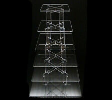 TK 6 Tier [Square] Clear Acrylic Cupcake Party Wedding Cake Display Tower Stand