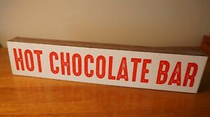 Hot Chocolate Bar Wood Box Sign Country Primitive Cafe Kitchen Christmas Decor
