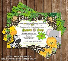 Safari - Jungle - Baby Animals - Baby Shower - Invitations - 15 Printed W/envelo