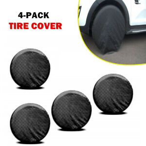 "Tire Covers 4Pack Universal Fits Tire Diameters 26-27"" Black Tire Sun Snow Cover"