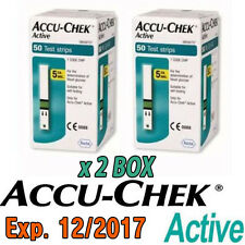 Accu-Chek Active Diabetic Blood Glucose Meter 100 Test Strips Exp 12/2017
