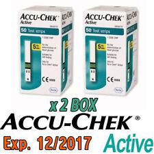 ACCU-chek Active diabéticos medidor de glucosa en sangre 100 tiras de prueba Exp 12/2017