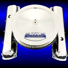 Chrome Valve Covers and Blue 350 Emblem Air Cleaner Combo For 350 Olds Engines