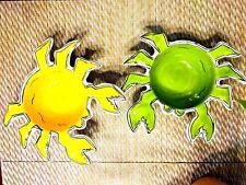 Set of 2 Artist Mandy Bagwell's Mod Yellow & Green Crab Dish Porcelain Dip bowl