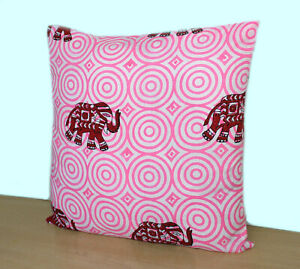 Indian Hand Block Printed Cushion Cover Animal Printed Cotton Pillow Cover Throw