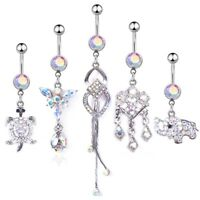 5pc/Set Crystal Button Dangle Barbell Bar Belly Navel Ring Body Piercing Jewelry