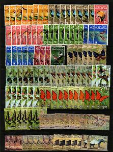 MALAYSIA Accumulation of good used definitves,birds, butterflies & animals