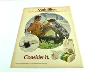 """Multifilter Consider It Man Dog White Picket Fence Vtg Print Ad 13.5""""x10"""" AN"""