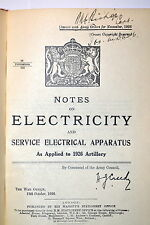 Notes  ELECTRICITY & SERVICE ELECTRICAL APPARATUS for 1926 ARTILLERY RB220 Book
