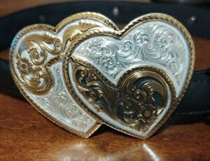Montana Silversmith Dual Heart Buckle with Black Tony Lama Leather Belt~Size 28
