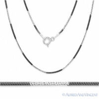 Solid Black Rhodium Plated Sterling Silver 1mm Snake Link Chain Italian Necklace
