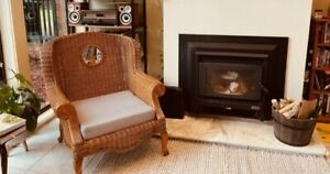 Oversized Wicker Chair with Myrtle Carved Wood.