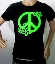 """T -Shirt """" Peace Flowers """" Neon Grün - Größe S M L XL XXL auch Damen Girli NEU"""