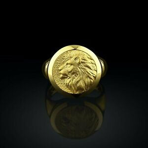 10K Yellow Gold Lion's Head Handmade Round Signet Men's Ring Boho Gift For Him