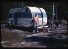 Shirtless Man Guards Yellowstone Teardrop Camper Travel Trailer 1963 Slide Photo