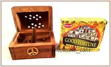 One Asst Wooden Coffin Box Incense Burner & 1 Box Of Good Fortune Cone Incense