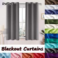 2 Panel Blackout Curtain Room Darkening Thermal Insulated Light Blocking Grommet