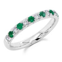 14K White Gold Round Emerald Gemstone Diamond Ring Band Anniversary Wedding