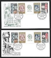 "FRANCE 1964 PHILATEC PARIS SETENANT STRIPS ON 2 FDC""S"