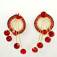 Sparkly Chic Red Crystal Silver Rhinestone Ear Stud Gold Plating Dangle Earrings