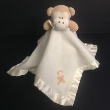 Blankets And Beyond Monkey Cream Security Blanket Satin Applique Lovey