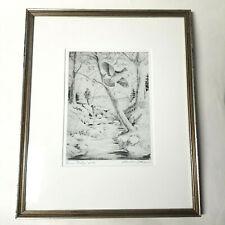 Churchill Ettinger Artist Signed Etching GROUSE STRATEGY Framed Matted Bird Hunt