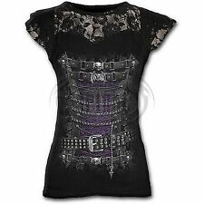 Spiral Direct Waist Corset Lace Layered Cap Sleeve Black T-shirt Goth Edwardian L