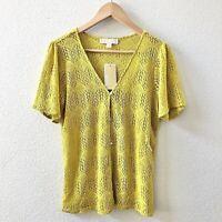 Michael Kors Women's Crochet Knit Top Size Small Safflower $88