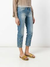 NEW(A8382-27) Michael Kors Embellished Cropped Jeans Light Indigo Sz 8 $195