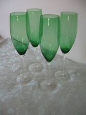 4 Green Spectrum Hand Blown Crystal Champagne Flutes with Clear Stems