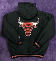 VTG 90s Chicago Bulls Starter Jacket Mens Adult Large Puffer Winter Black Jordan