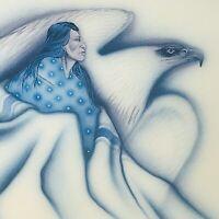 "Robert Redbird Crystal Tile ""His Power"" Design Of The Southwest 8 1/8"" x 6 1/4"""