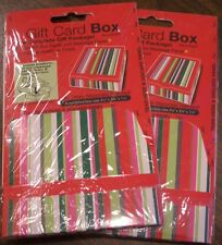 2 striped small gift card gift boxes *fold-to-build* multi color  gift wrap New