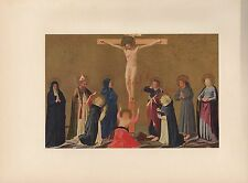 """1953 Vintage ITALIAN """"THE CRUCIFIXION"""" FRA ANGELICO COLOR Art Print Lithograph"""