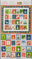 Makower JOY Christmas Advent Calendar Panel 100% Cotton Patchwork Craft Fabric