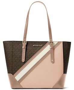 NWT Michael Kors  Aria Large Signature Tote Brown/Soft Pink/Gold