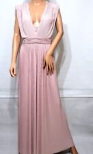 Asos Red Carpet Pleated Deep Plunge Maxi Party Cocktail Dress in Dusty Pink