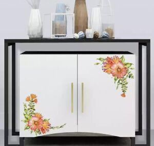 "NEW 12"" x 8"" Red Flower Swags Vinyl Corner Wall Furniture Window Cabinet Decals"