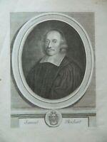 Grabado Retrato Samuel Bochart Protestantismo Van Schuppen 1699 Siglo XVIII