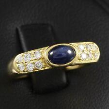 Saphircabochon Brillant Ring ca. 0,96 ct.   4,6g 750/- Gelbgold