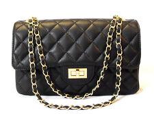 Ital. Handtasche Schultertasche Abendtasche  Leder gesteppt schwarz Tasche Extra