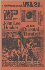 """CANNED HEAT with John Lee HOOKER 1971"" Affichette US originale entoilée 25x38cm"