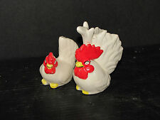 Vintage Sets Of White And Red Rooster Salt And Pepper Shakers 5642O