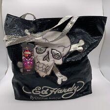 Ed hardy nwt black tote bag crossbones skull print