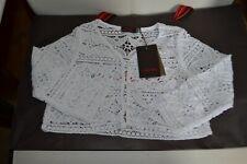 catimini veste neuve   8 ans dentelle blanc  boutons boule brillants