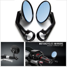 2PCS Round Motorcycle Rear View Handle Bar End Rearview Side Cafe Racer Mirrors
