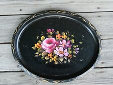 vintage metal tray hand painted shabby chic black oval flowers tole floral pink
